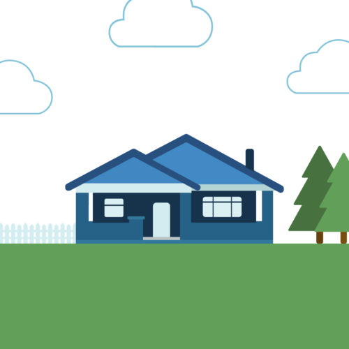 A blue house with a yard and trees in Denver, Colorado that was bought with a cash offer from Accept.inc